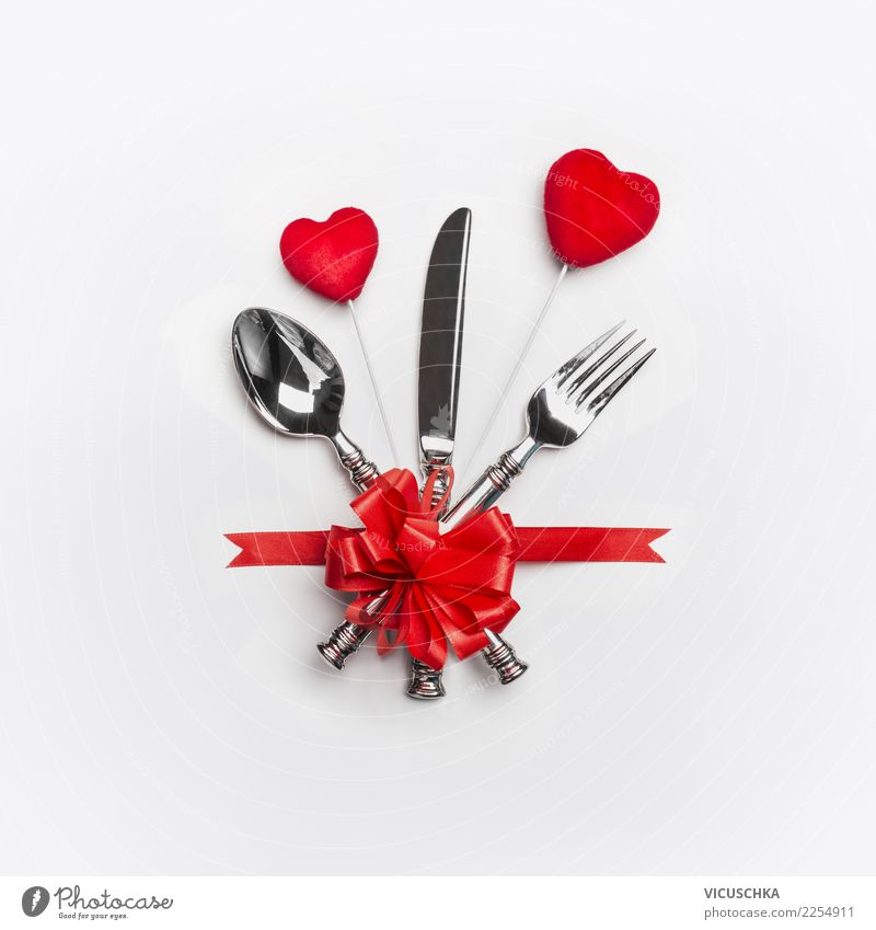 Festive table setting for Valentine's Day Banquet Cutlery Style Design Decoration Table Party Event Restaurant Feasts & Celebrations Wedding Sign Love Heart