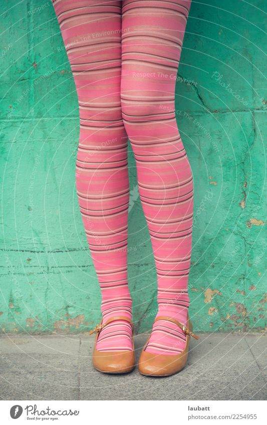 Pink stripped stockings Youth (Young adults) Young woman Town Green Joy Legs Funny Feminine Style Happy Freedom Feet Fashion Retro Modern