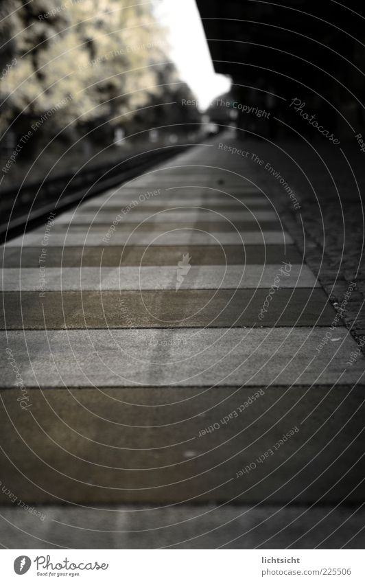 Calm Black Loneliness Dark Gray Brown Fear Signs and labeling Concrete Railroad Dangerous Perspective Corner Stripe Target Mysterious
