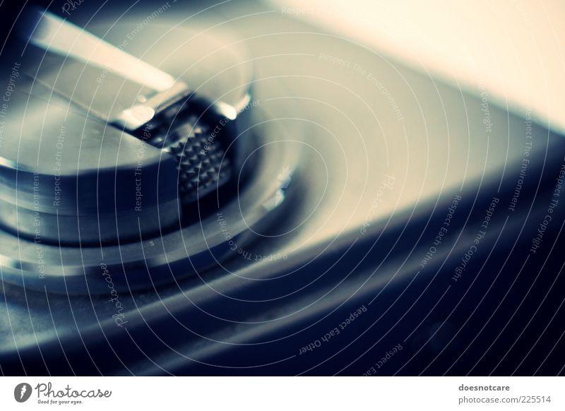 Blue Metal Glittering Camera Analog Take a photo Vintage Detail Lever Spool Reset