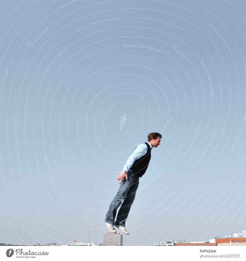 Human being Man Adults Jump Flying Beginning Roof To fall Shirt Pants Hover Sweater Sneakers Tumble down Clothing Multicoloured