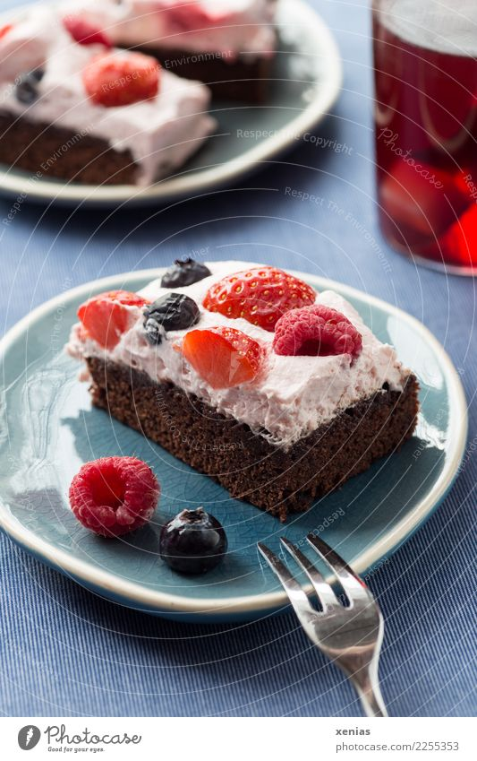 Chocolate cake with cream and berries on blue plate and red tea Cake Dough Baked goods brownie Raspberry Strawberry Blueberry Cream Sugar Hot drink Tea