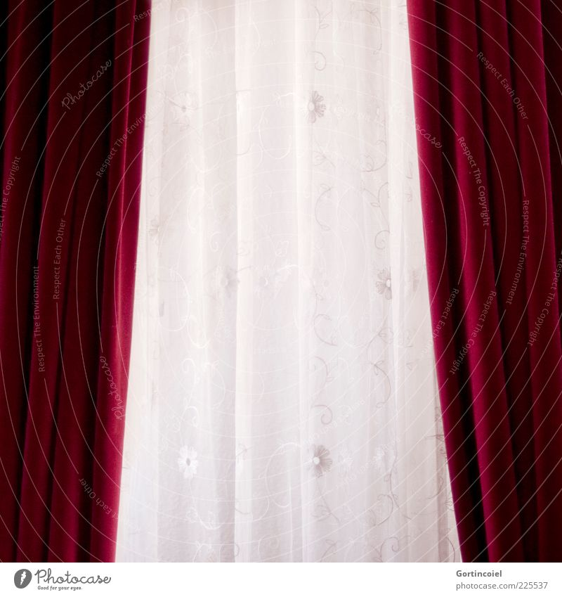 White Red Drape Curtain Old fashioned Velvet Cloth pattern