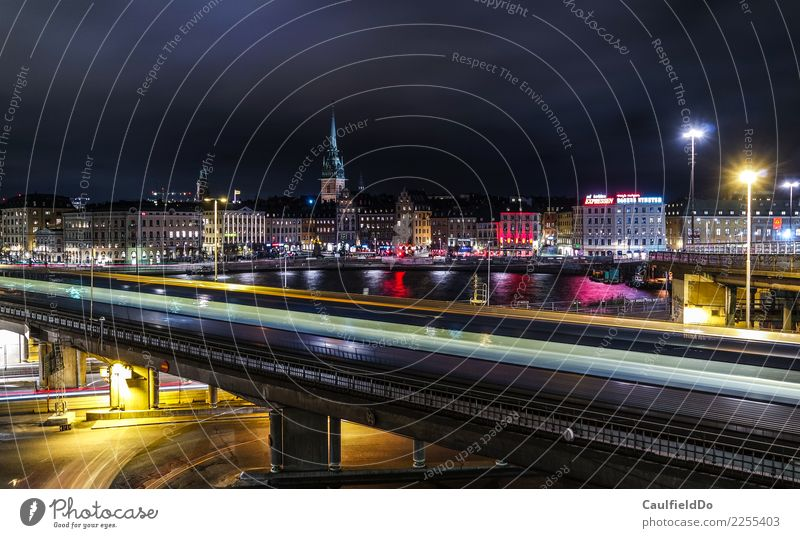 Stockholm by Night Vacation & Travel Tourism Adventure Sightseeing City trip Night life Winter Town Capital city Port City Downtown Old town Skyline Deserted