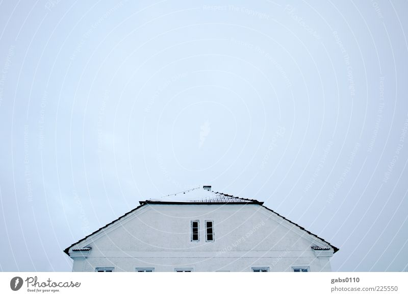 """""""Roisnedt"""" House (Residential Structure) Detached house Sky Roof Tiled roof Chimney Window Rendered facade Blue Black White Symmetry Colour photo Deserted"""