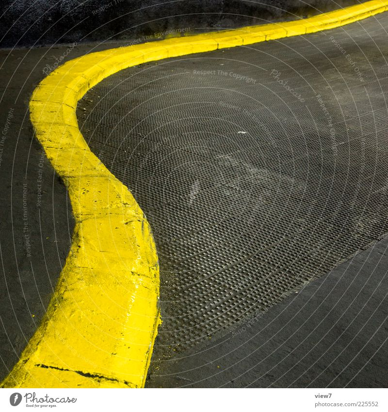 Yellow Street Colour Line Signs and labeling Concrete Arrangement Design Modern Esthetic Gloomy Uniqueness Simple Long Parking garage Curved
