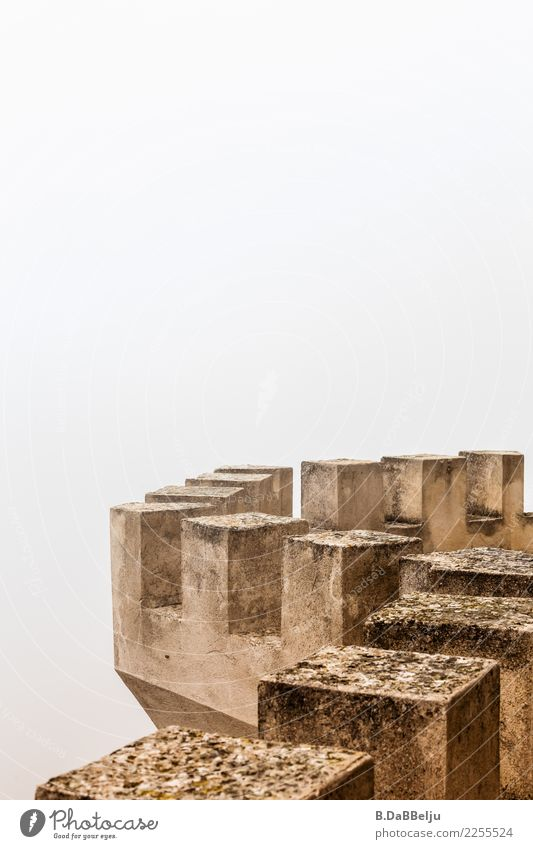 battlements in the mist Italy Sicily Day Deserted Exterior shot Colour photo Wall of fog Knight's castle Defensive Medieval times Past Decline Protection