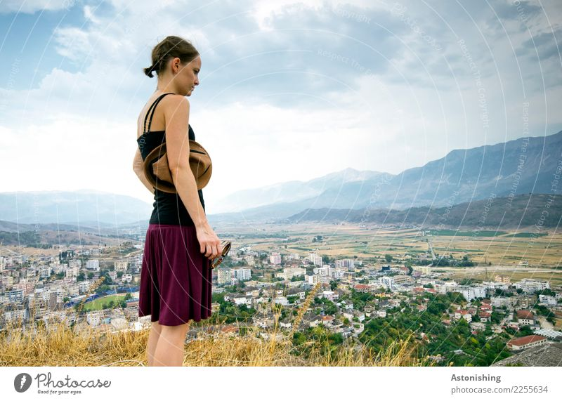 on the hill Gjirokastras Human being Feminine Young woman Youth (Young adults) Body Skin Head Hair and hairstyles Arm Legs 1 18 - 30 years Adults Environment