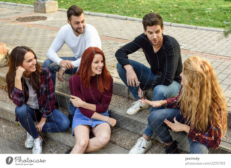 Group of young people together outdoors in urban background Woman Human being Youth (Young adults) Man Young woman Beautiful Young man Joy 18 - 30 years Street
