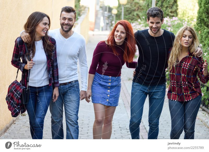 Five young people together outdoors in urban background Lifestyle Joy Human being Masculine Feminine Young woman Youth (Young adults) Young man Woman Adults Man