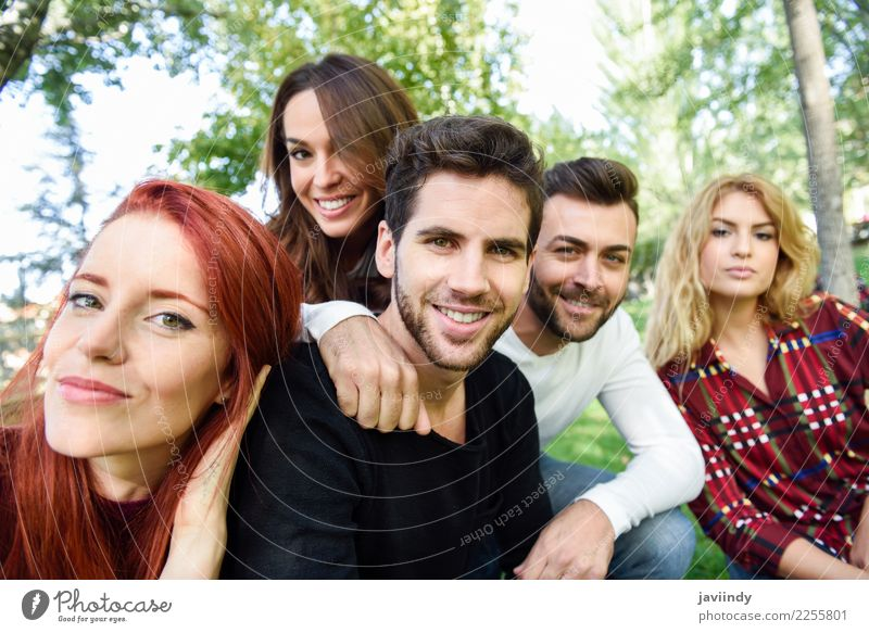 Group of friends taking selfie in urban background. Lifestyle Joy Happy Beautiful Leisure and hobbies Telephone PDA Camera Human being Masculine Feminine