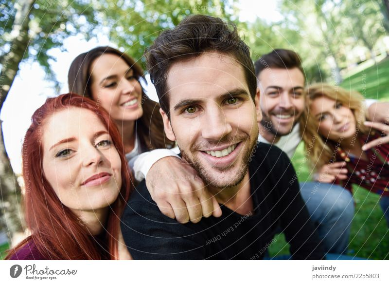 Group of friends taking selfie in urban background. Woman Human being Youth (Young adults) Man Young woman Beautiful Young man Joy 18 - 30 years Street Adults