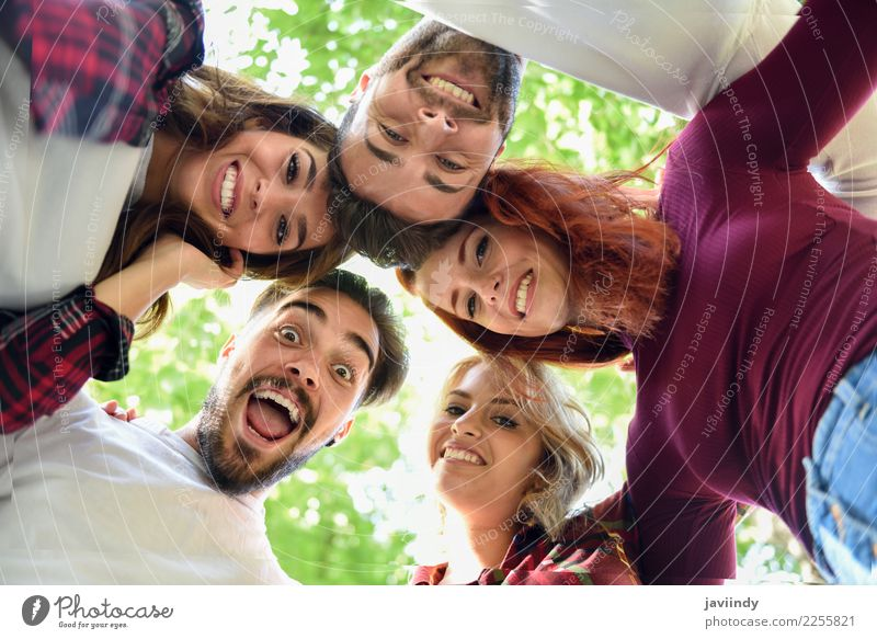 Group of young people together outdoors Lifestyle Joy Beautiful Human being Masculine Feminine Young woman Youth (Young adults) Young man Woman Adults Man