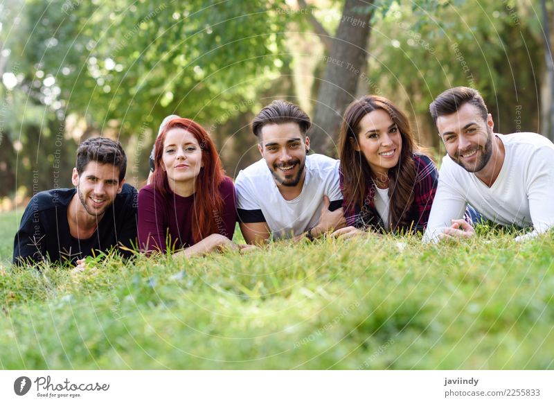 Group of young people together outdoors in urban park Woman Human being Youth (Young adults) Man Young woman Beautiful Young man Joy 18 - 30 years Street Adults