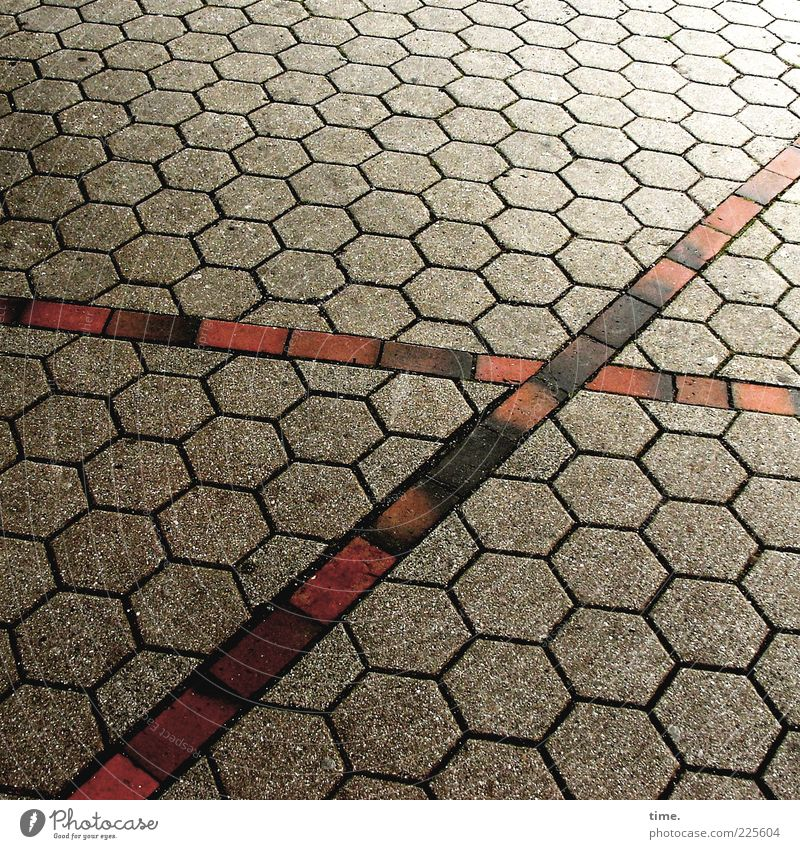 Duty Freestyle Places Stone Crucifix Red Black Honeycomb Cross Diagonal Smoothness Paving stone Colour photo Multicoloured Exterior shot Detail Deserted Day