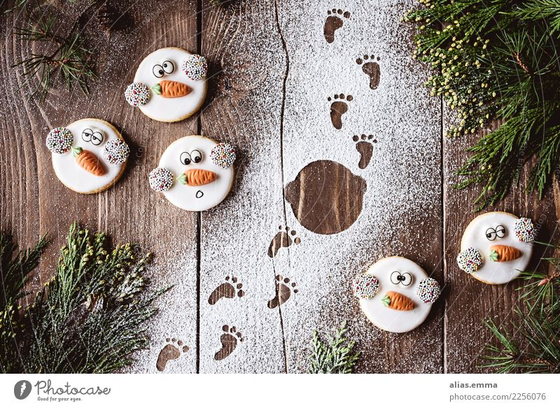 Frosty and the footprints in the snow ;) frosty Christmas & Advent Snowman Goblin Cookie Christmas biscuit Footprint Snowfall Christmas wish Funny Beautiful