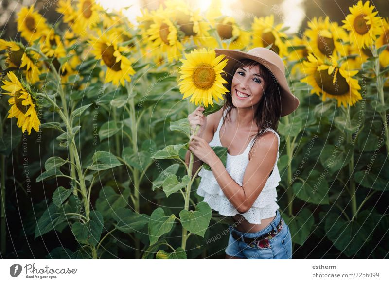 girl in the field of sunflowers Lifestyle Style Joy Wellness Vacation & Travel Trip Adventure Freedom Summer Summer vacation Human being Feminine Young woman
