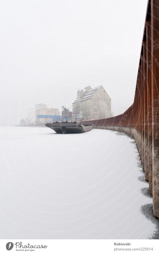 Human being Water Winter Calm Cold Snow Building Brown Ice Fog Frost River Logistics Harbour Steel Frozen