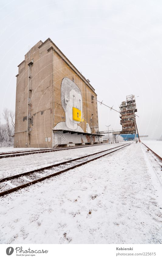 Port of Albern Winter Deserted Industrial plant Brown Yellow Calm Stagnating Change Colour photo Wide angle Graffiti Railroad tracks