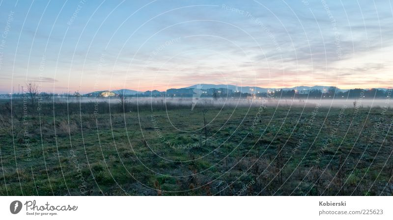 Fog in the evening Clouds Autumn Grass Meadow Deserted Blue Green Calm Moody Colour photo Exterior shot Wide angle Coast Twilight