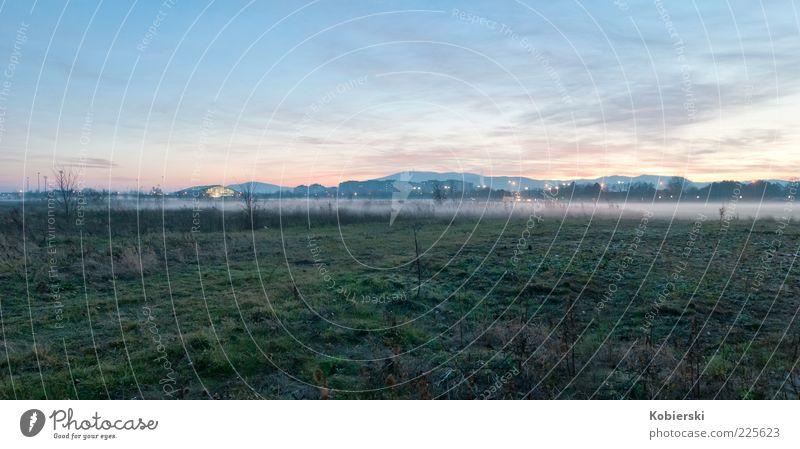 Green Blue Clouds Calm Meadow Autumn Grass Coast Moody Fog