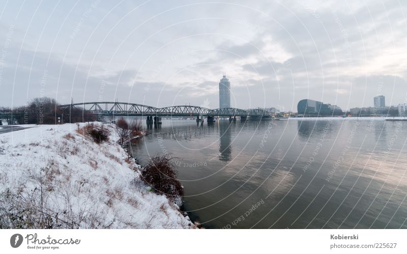 Millenium Tower Water Clouds Winter Ice Frost River bank Deserted High-rise Architecture Modern Calm Town Colour photo Exterior shot Wide angle