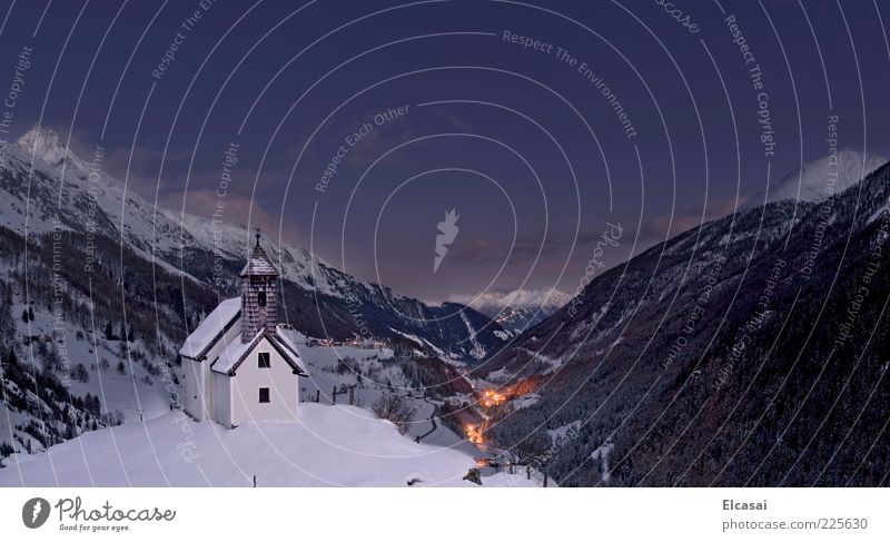 Blue Winter Calm Far-off places Dark Snow Mountain Landscape Lamp Church Alps Village Night sky Valley National Park Remote