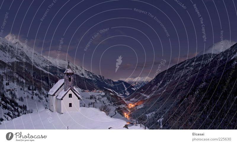 virgen valley Winter Snow Winter vacation Mountain Landscape Night sky Alps Greater Venediger Virgen valley Matrei Valley National Park Hohen Tauern NP Village