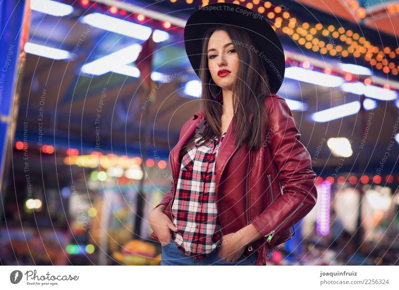 beauty girl with a cotton candy in a fair Lifestyle Joy Happy Beautiful Entertainment Woman Adults Park Hat Happiness White Carousel Amusement Park carnival