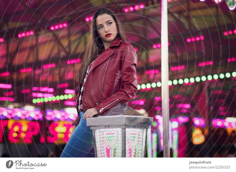 beauty girl in a fair with many lights Lifestyle Joy Happy Beautiful Entertainment Woman Adults Park Happiness White Carousel Amusement Park carnival amusement