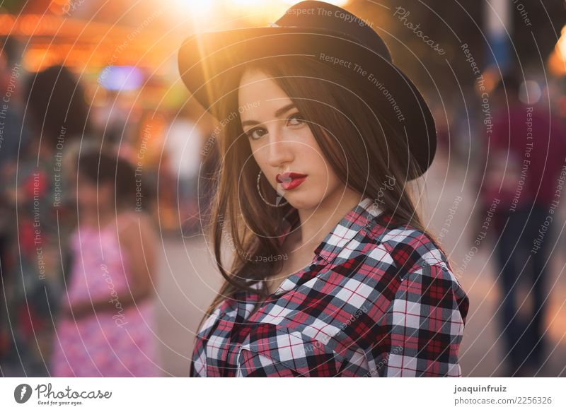beauty girl with a hat in a fair with many lights Lifestyle Joy Happy Beautiful Entertainment Woman Adults Park Hat Happiness White Carousel Amusement Park