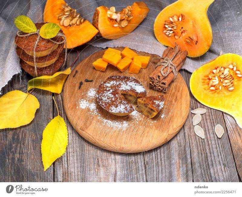 pumpkin muffins and fresh pumpkin slices Vegetable Bread Dessert Breakfast Table Kitchen Autumn Leaf Wood Fresh Tradition Cupcake Meal Slice sweet Snack orange