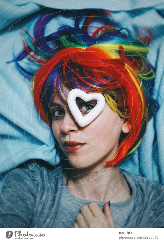 Young woman with a rainbow wig and a hear in her eye Style Design Skin Face Wellness Human being Feminine Homosexual Youth (Young adults) 1 18 - 30 years Adults