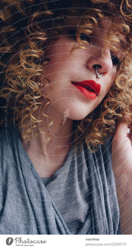 Beautiful young woman with blonde curly hair Lifestyle Style Hair and hairstyles Skin Face Lipstick Human being Feminine Young woman Youth (Young adults) 1
