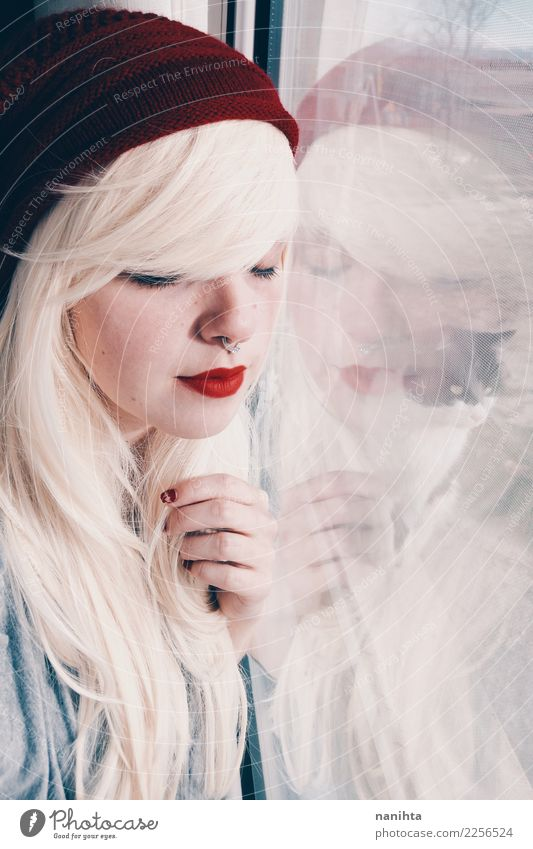 Young blonde woman reflected in a window and a cat Style Beautiful Hair and hairstyles Skin Face Living or residing Human being Feminine Young woman
