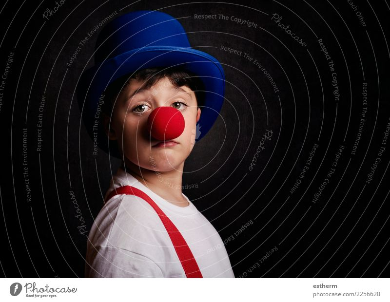 funny boy with clown nose Lifestyle Joy Entertainment Party Event Feasts & Celebrations Carnival Fairs & Carnivals Birthday Human being Masculine Child Toddler