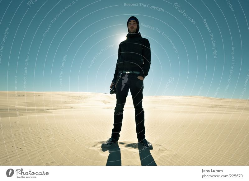 Human being Sky Youth (Young adults) Blue Loneliness Cold Sand Warmth Adults Masculine Cool (slang) Stand Desert Tracks Beach dune Dune