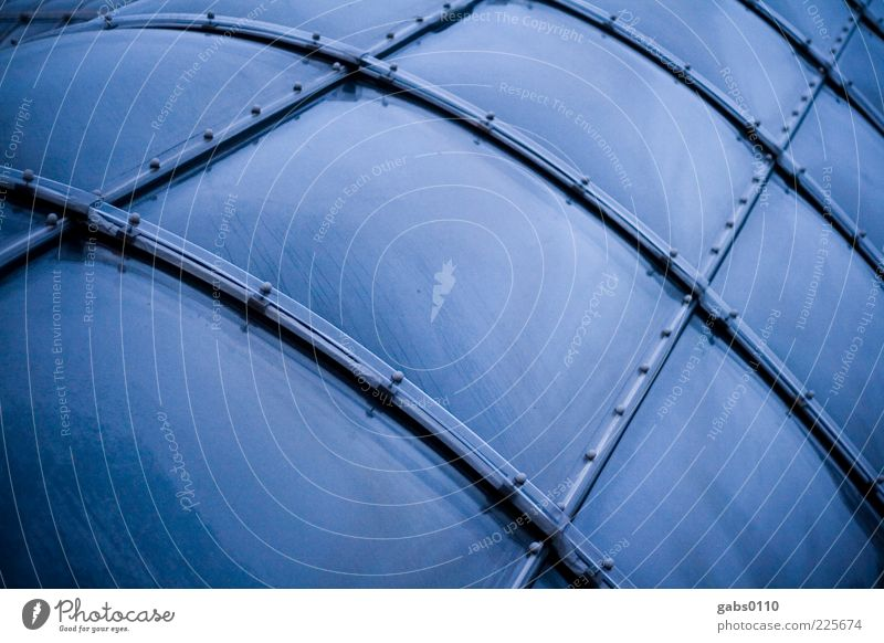 space station Manmade structures Building Architecture Window Exceptional Cold Round Greenhouse Window pane Blue Black Line Reflection Condensation Water Modern