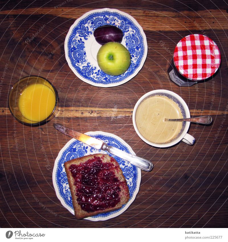 Le petit déjeuner Food Fruit Apple Grain Jam Breakfast To have a coffee Beverage Hot drink Juice Coffee Crockery Plate Cup Glass Cutlery Knives Table Kitchen