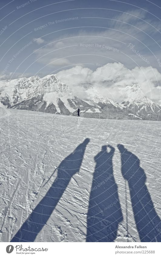Ski all right. Sports Winter sports Skis Human being Life 4 Environment Nature Landscape Elements Sky Clouds Climate Climate change Beautiful weather Snow Alps