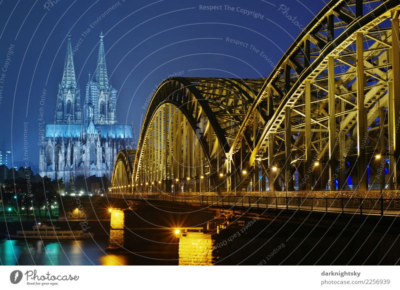 Blue Town Water Black Yellow Germany Romance Bridge Tourist Attraction Skyline Landmark Old town Monument Cloudless sky Turquoise European