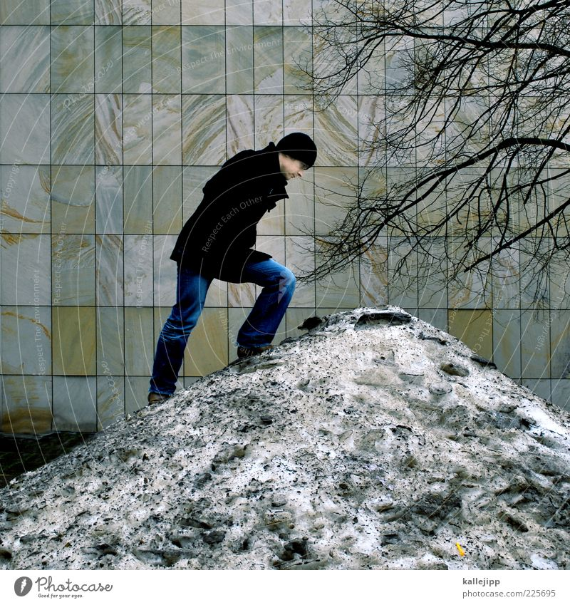Human being Man Tree Winter Adults Cold Wall (building) Snow Wall (barrier) Ice Climate Facade Dirty Masculine Frost Hill