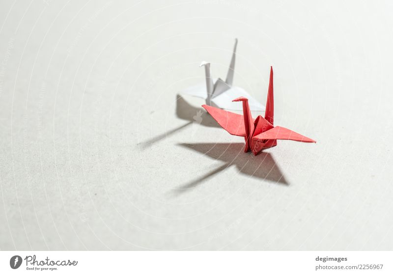 background Leisure and hobbies Playing Decoration Craft (trade) Art Animal Bird Paper Toys Red White Hope Origami crane Japan Object photography fly wing