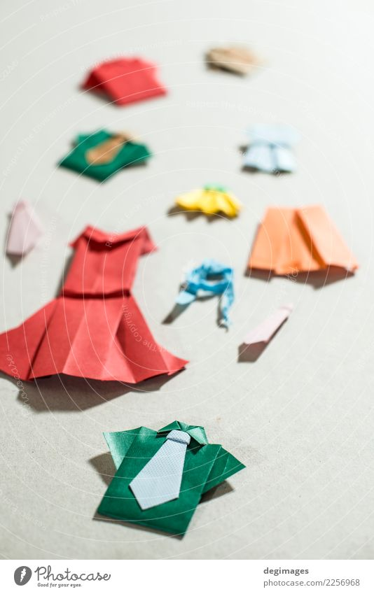 Many clothes origami Woman Blue Beautiful White Adults Natural Small Art Fashion Design Retro Decoration Clothing Shopping Paper Symbols and metaphors