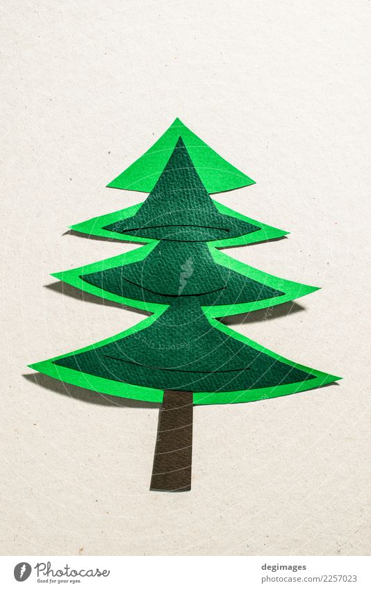Christmas pine tree made of paper on paper background. Design Winter Decoration Feasts & Celebrations Christmas & Advent Art Tree Paper Ornament New Green White