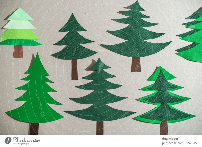 Christmas pine tree made of paper on paper background Christmas & Advent Green White Tree Winter Art Feasts & Celebrations Design Decoration Paper New