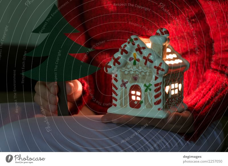 Christmas house. Candle light in the house. Winter Snow House (Residential Structure) Decoration Feasts & Celebrations Christmas & Advent Woman Adults Hand