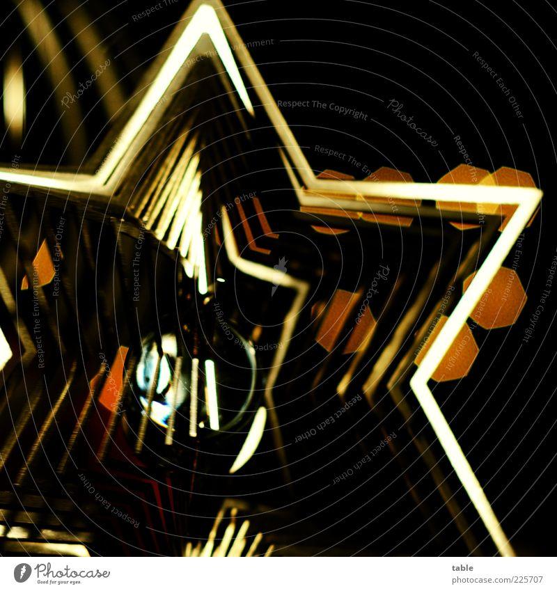 Christmas & Advent Black Dark Style Metal Gold Glittering Glass Esthetic Lifestyle Star (Symbol) Decoration Exceptional Kitsch Illuminate