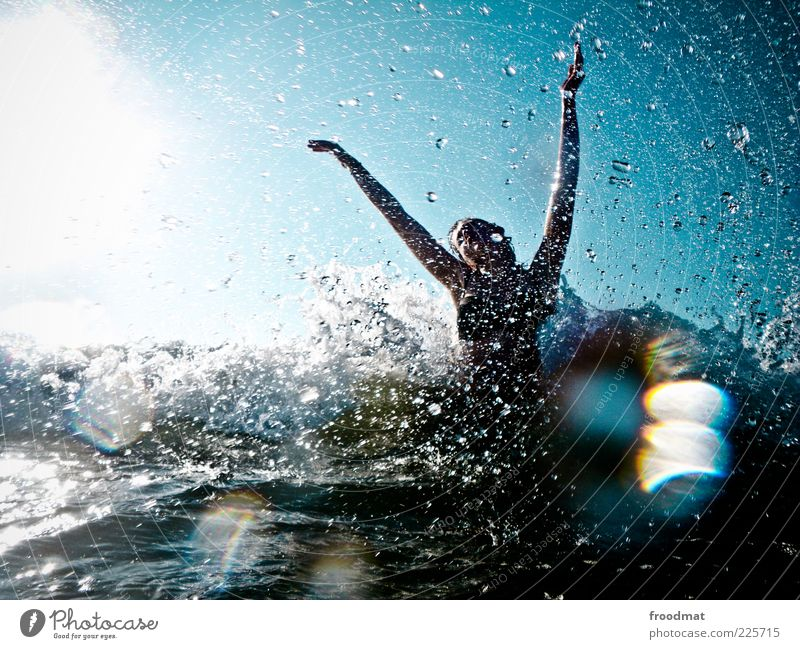 tears of joy Joy Swimming & Bathing Leisure and hobbies Vacation & Travel Tourism Summer Summer vacation Sun Ocean Waves Human being Feminine Young woman