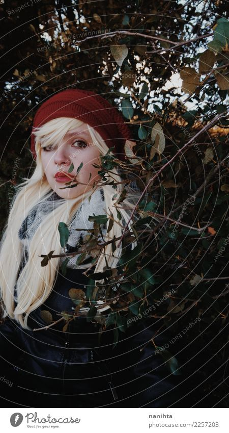 Young blonde woman wearing winter clothes into the woods Lifestyle Style Beautiful Human being Feminine Young woman Youth (Young adults) 1 18 - 30 years Adults